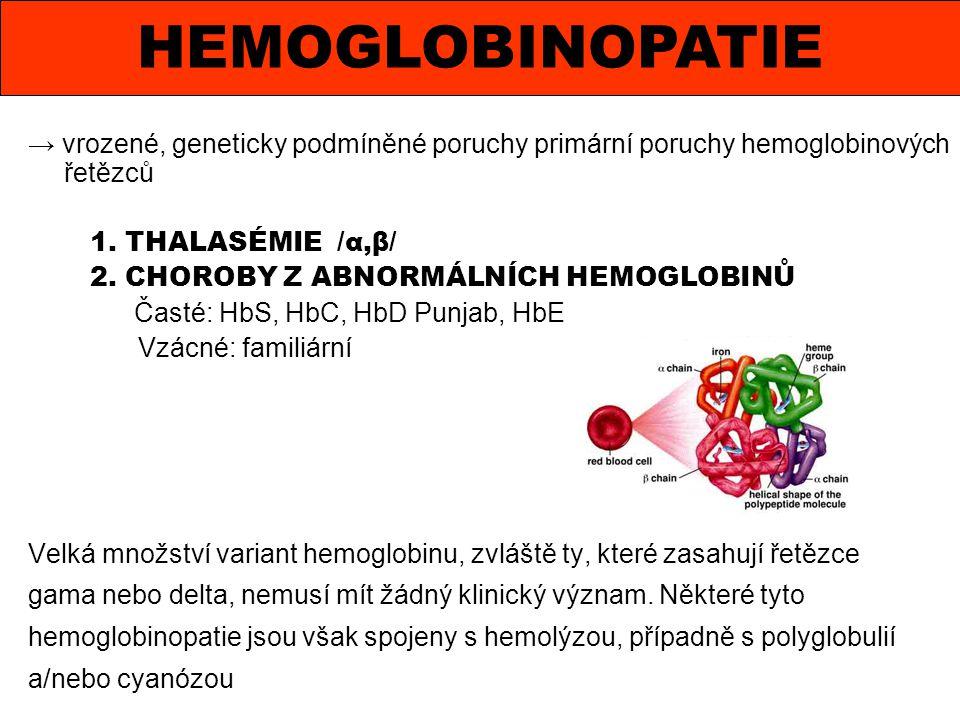 HEMOGLOBINOPATIE → vrozené, geneticky podmíněné poruchy primární poruchy hemoglobinových řetězců. 1. THALASÉMIE /α,β/