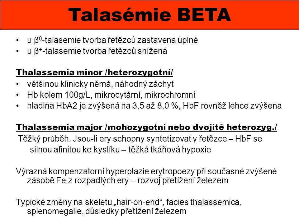 Talasémie BETA u β0-talasemie tvorba řetězců zastavena úplně