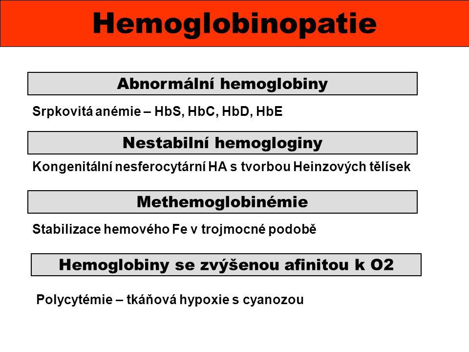 Hemoglobinopatie Abnormální hemoglobiny Nestabilní hemogloginy