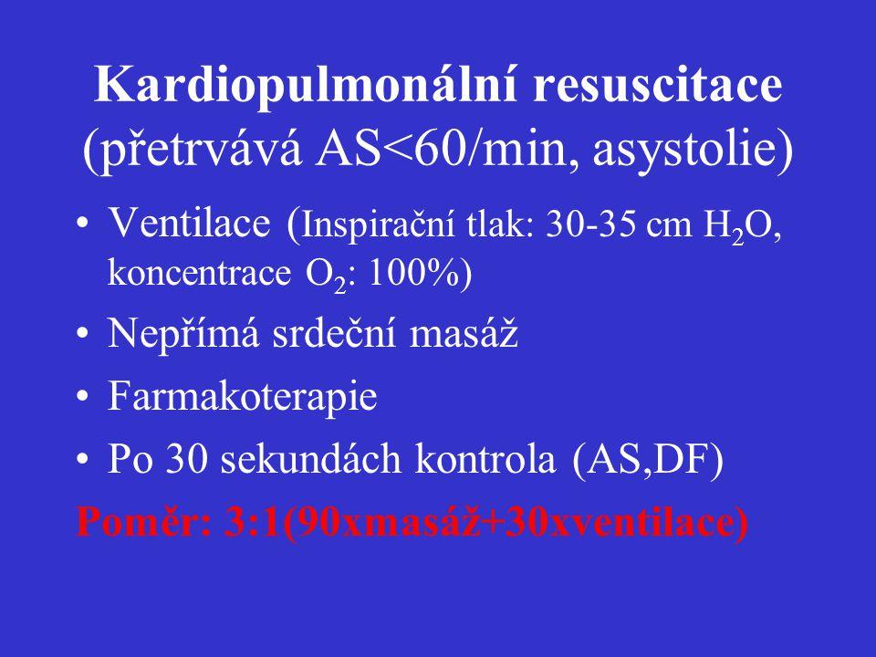 Kardiopulmonální resuscitace (přetrvává AS<60/min, asystolie)