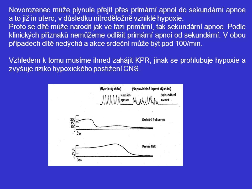 Novorozenec může plynule přejít přes primární apnoi do sekundární apnoe a to již in utero, v důsledku nitroděložně vzniklé hypoxie.