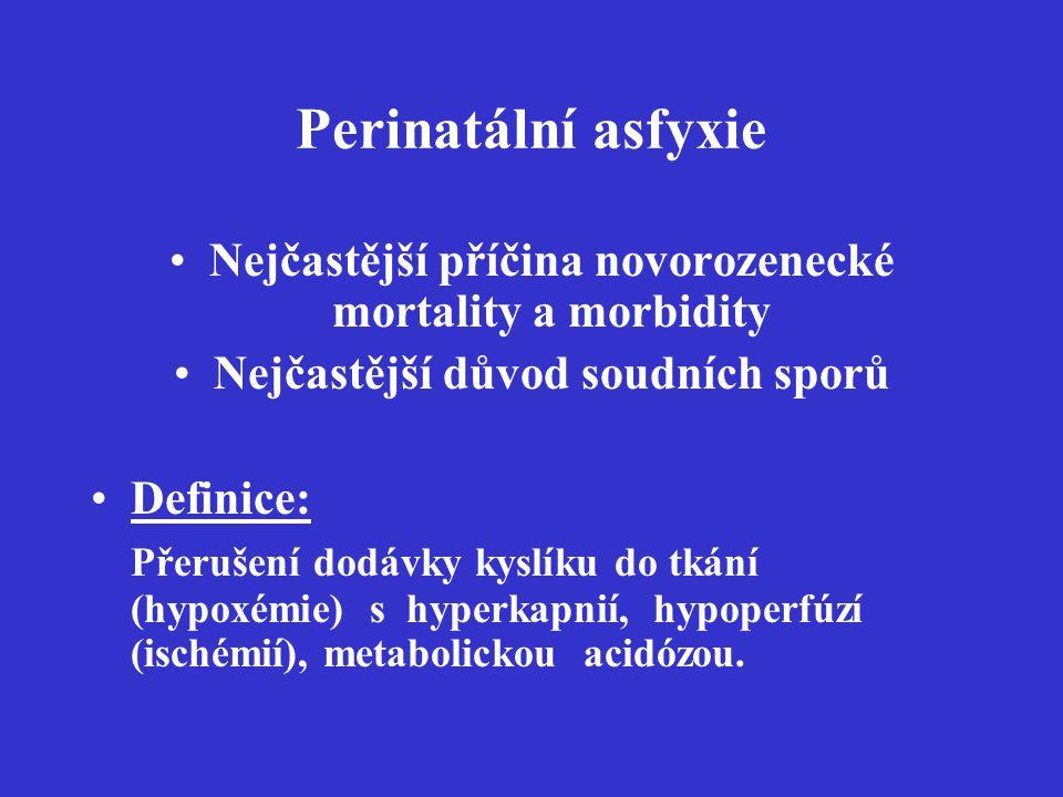 Perinatální asfyxie Nejčastější příčina novorozenecké mortality a morbidity. Nejčastější důvod soudních sporů.