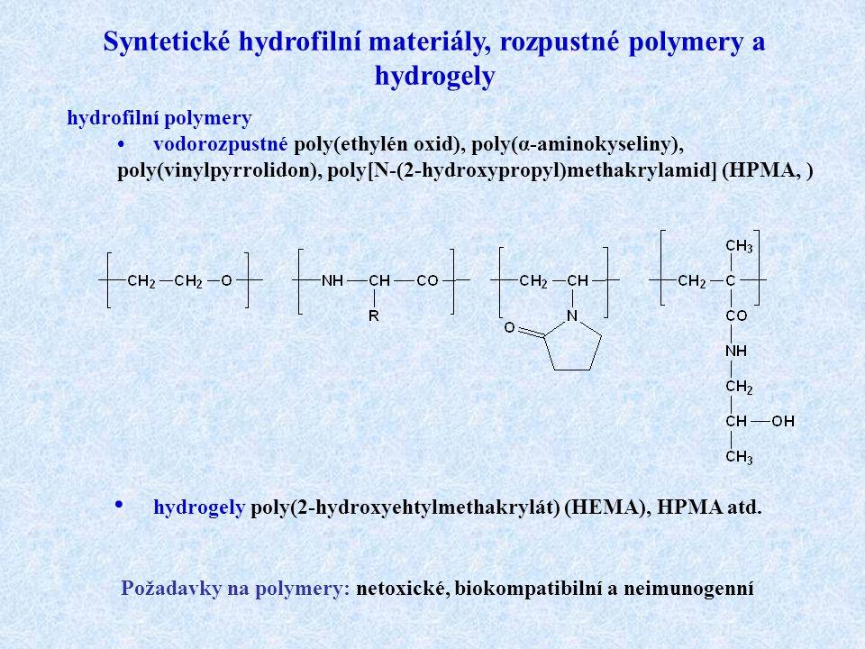 Syntetické hydrofilní materiály, rozpustné polymery a hydrogely