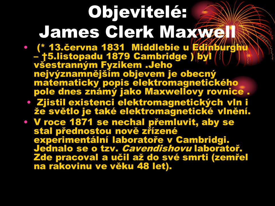 Objevitelé: James Clerk Maxwell