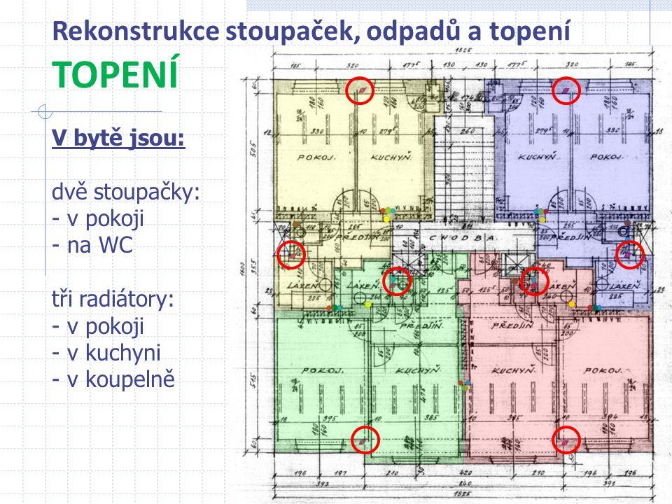TOPENÍ Rekonstrukce stoupaček, odpadů a topení V bytě jsou: