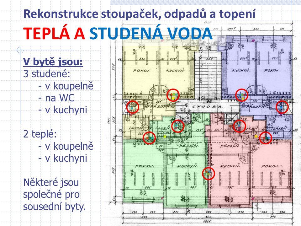TEPLÁ A STUDENÁ VODA Rekonstrukce stoupaček, odpadů a topení