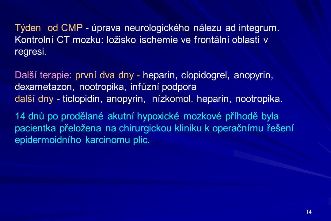 Týden od CMP - úprava neurologického nálezu ad integrum.