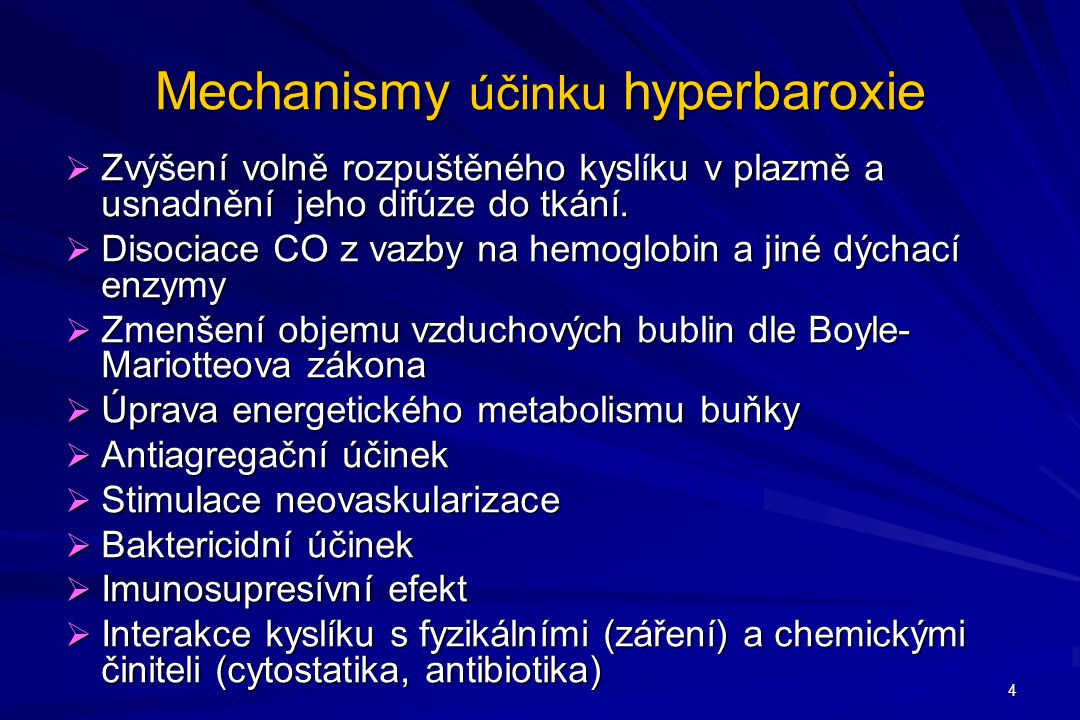 Mechanismy účinku hyperbaroxie