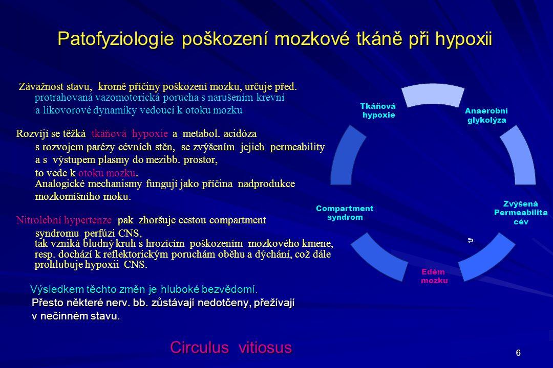 Patofyziologie poškození mozkové tkáně při hypoxii