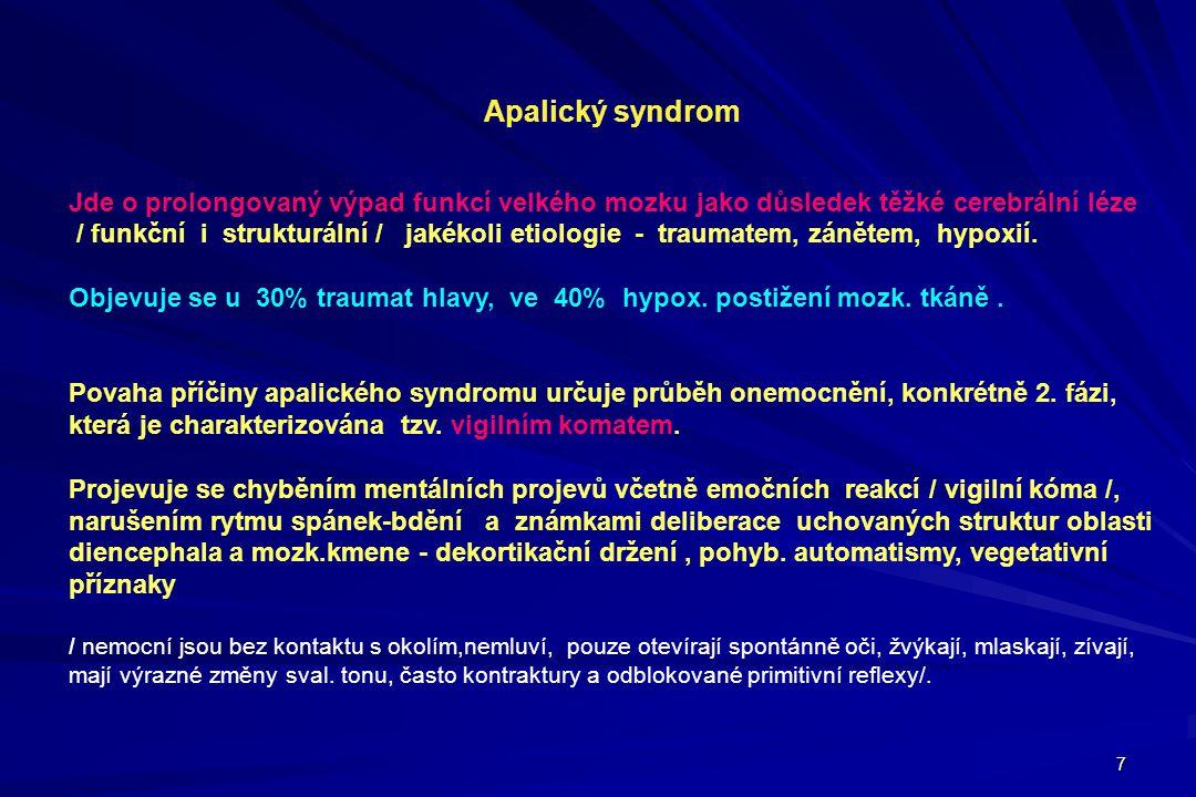 Apalický syndrom Jde o prolongovaný výpad funkcí velkého mozku jako důsledek těžké cerebrální léze.