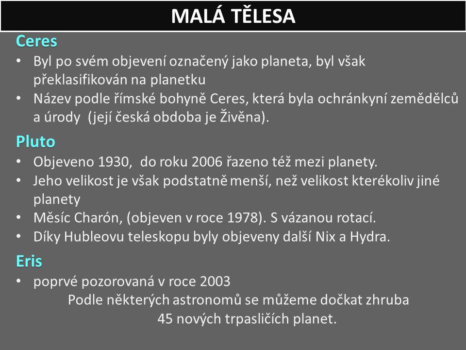 MALÁ TĚLESA Ceres Pluto Eris