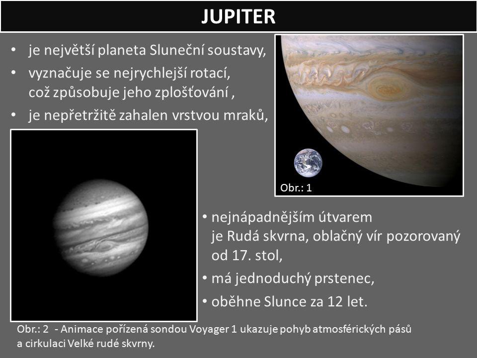 JUPITER je největší planeta Sluneční soustavy,