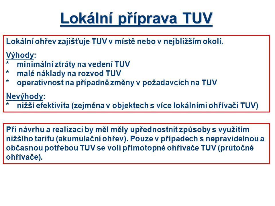 Lokální příprava TUV Lokální ohřev zajišťuje TUV v místě nebo v nejbližším okolí. Výhody: * minimální ztráty na vedení TUV.