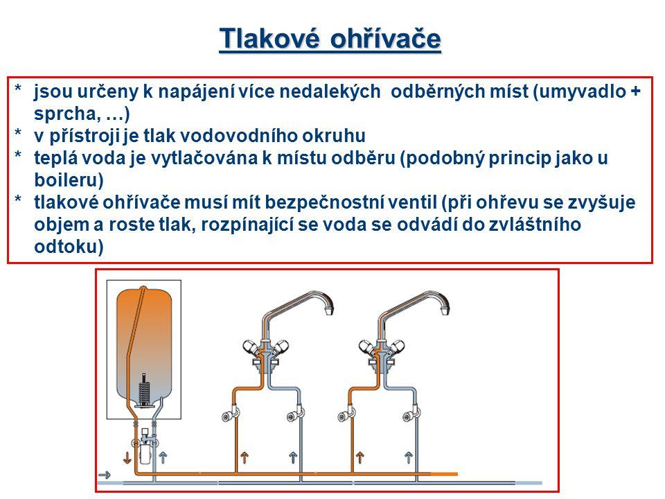 Tlakové ohřívače * jsou určeny k napájení více nedalekých odběrných míst (umyvadlo + sprcha, …) * v přístroji je tlak vodovodního okruhu.