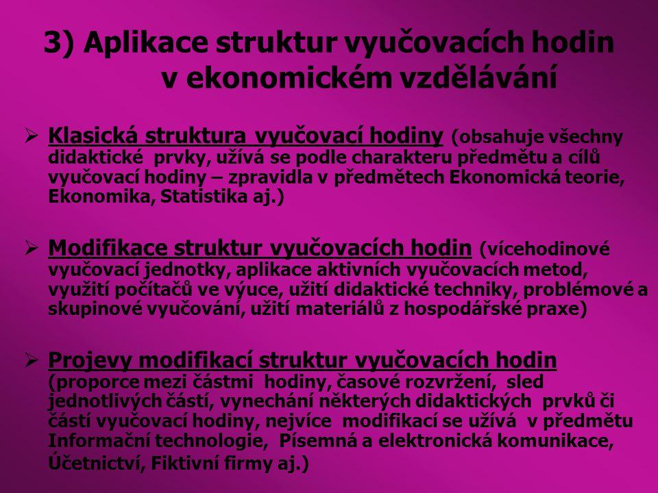 3) Aplikace struktur vyučovacích hodin v ekonomickém vzdělávání