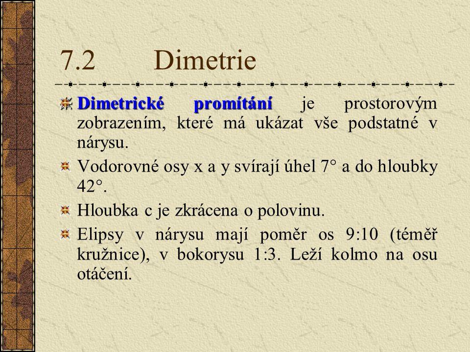 7.2 Dimetrie Dimetrické promítání je prostorovým zobrazením, které má ukázat vše podstatné v nárysu.