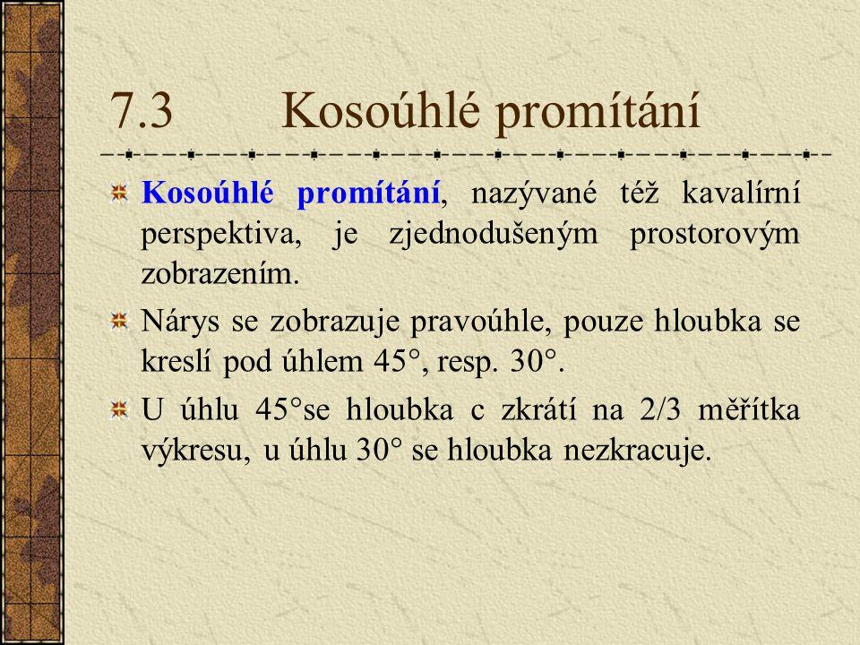 7.3 Kosoúhlé promítání Kosoúhlé promítání, nazývané též kavalírní perspektiva, je zjednodušeným prostorovým zobrazením.