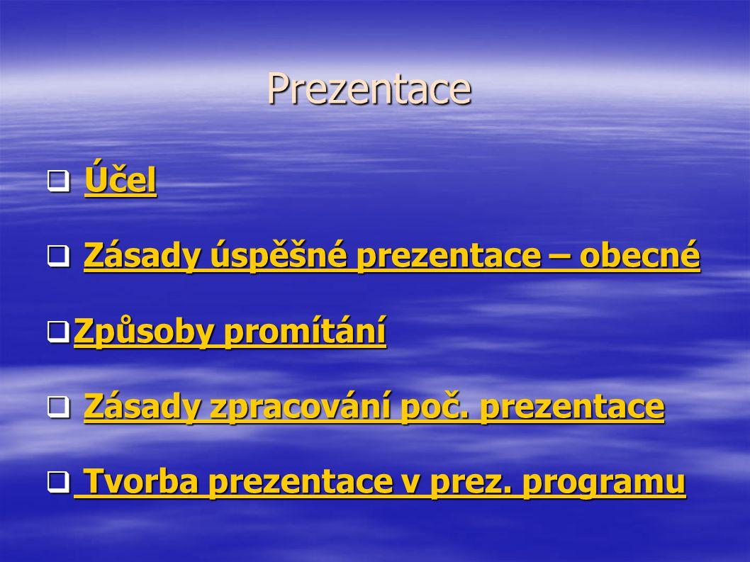 Prezentace Účel Zásady úspěšné prezentace – obecné Způsoby promítání