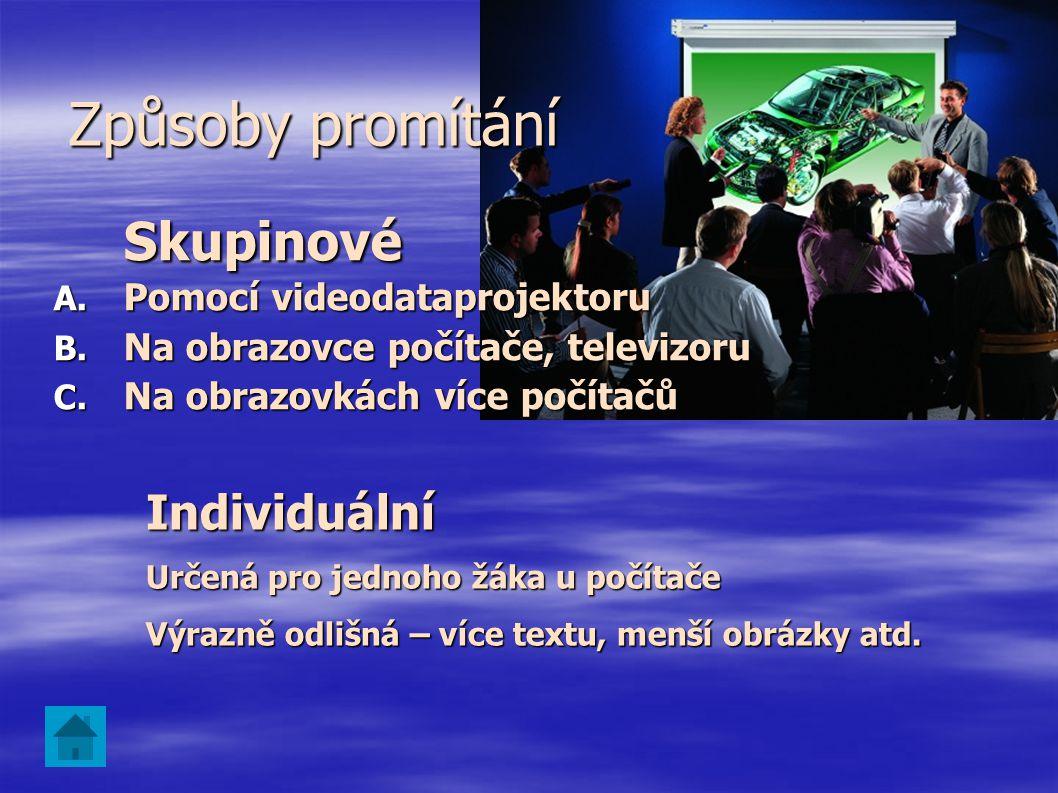 Skupinové Způsoby promítání Individuální Pomocí videodataprojektoru
