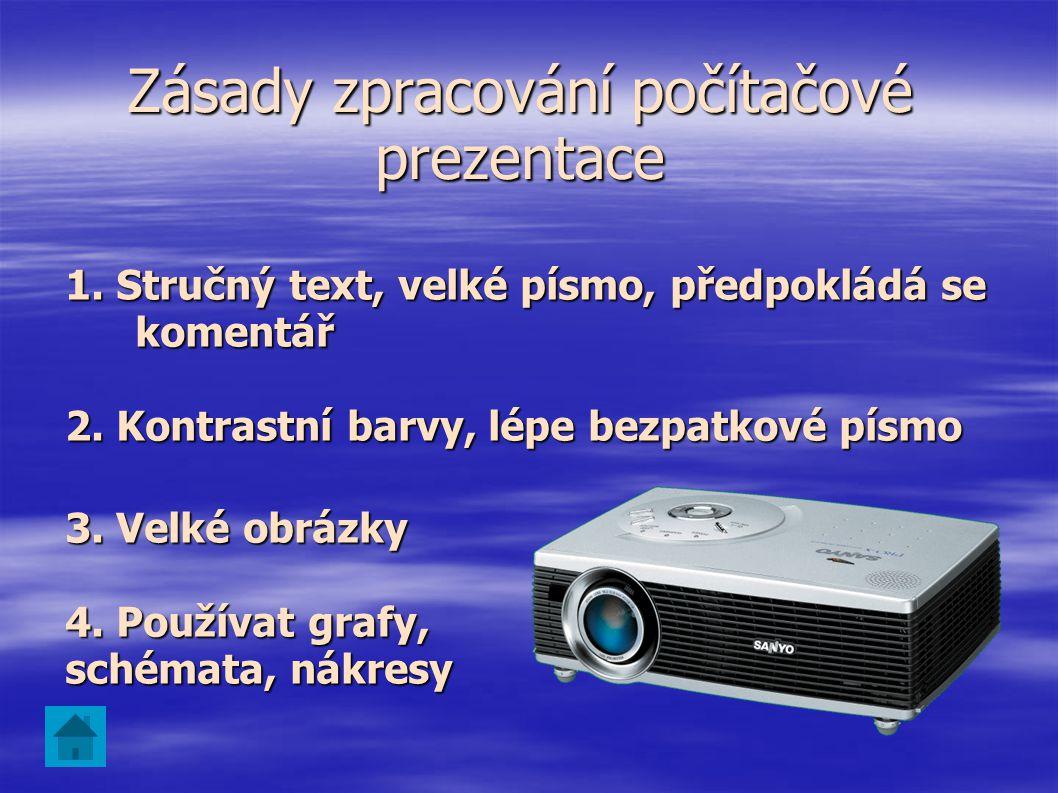 Zásady zpracování počítačové prezentace
