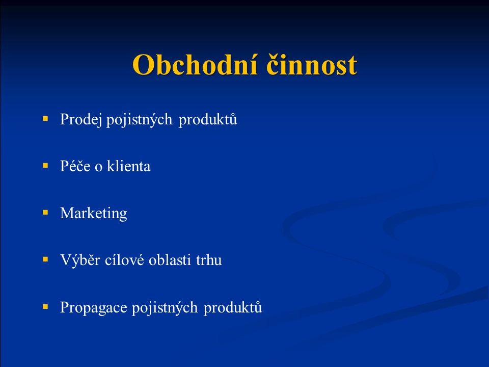 Obchodní činnost Prodej pojistných produktů Péče o klienta Marketing