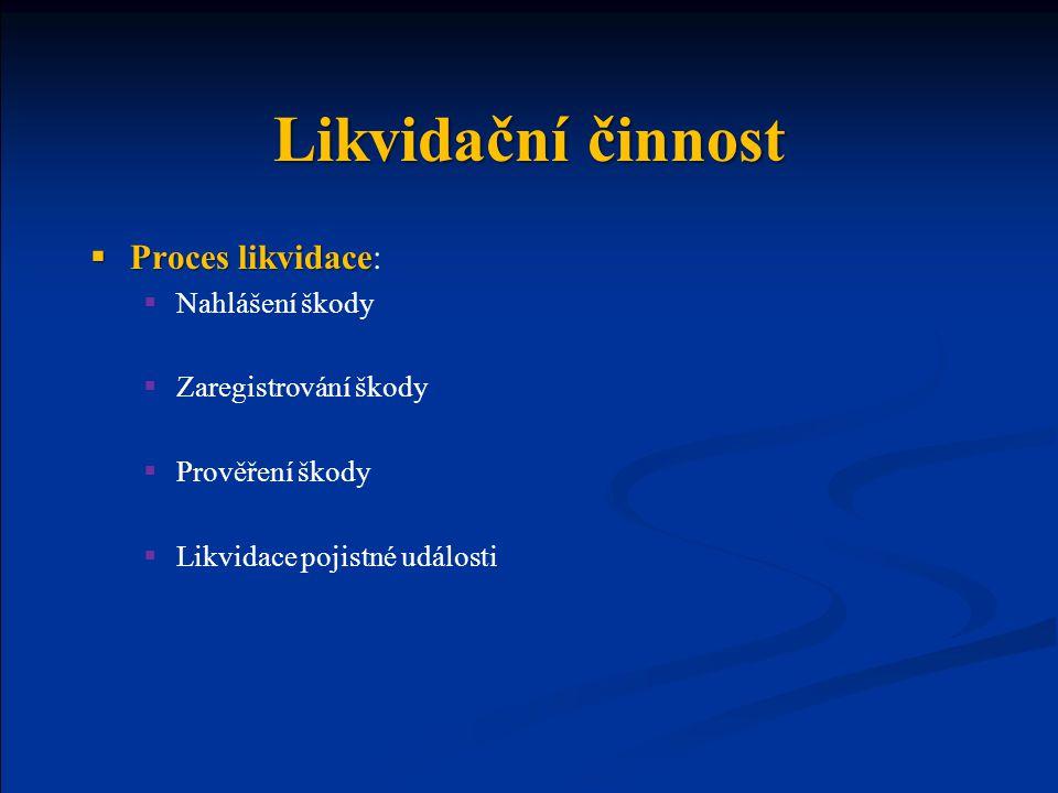 Likvidační činnost Proces likvidace: Nahlášení škody