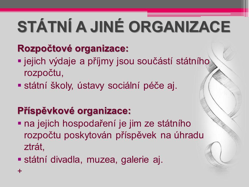 STÁTNÍ A JINÉ ORGANIZACE
