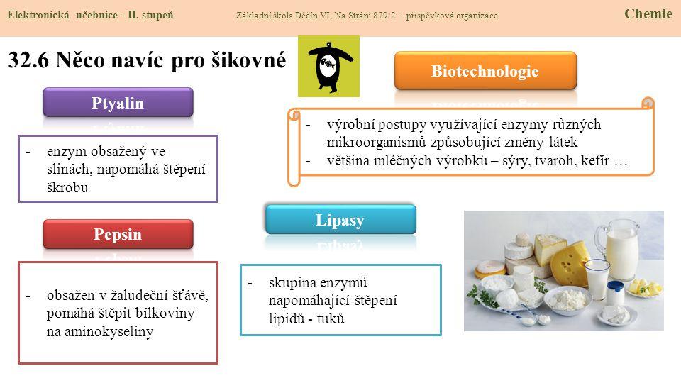 32.6 Něco navíc pro šikovné Biotechnologie Ptyalin Lipasy Pepsin