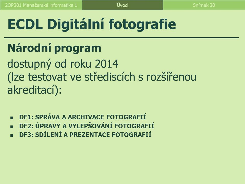 ECDL Digitální fotografie