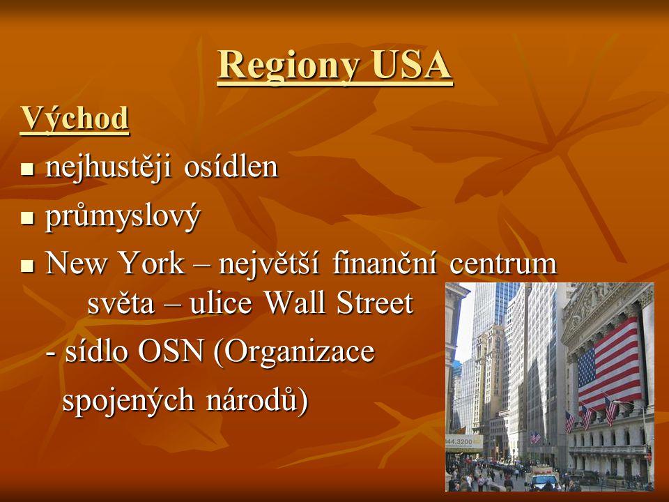 Regiony USA Východ nejhustěji osídlen průmyslový
