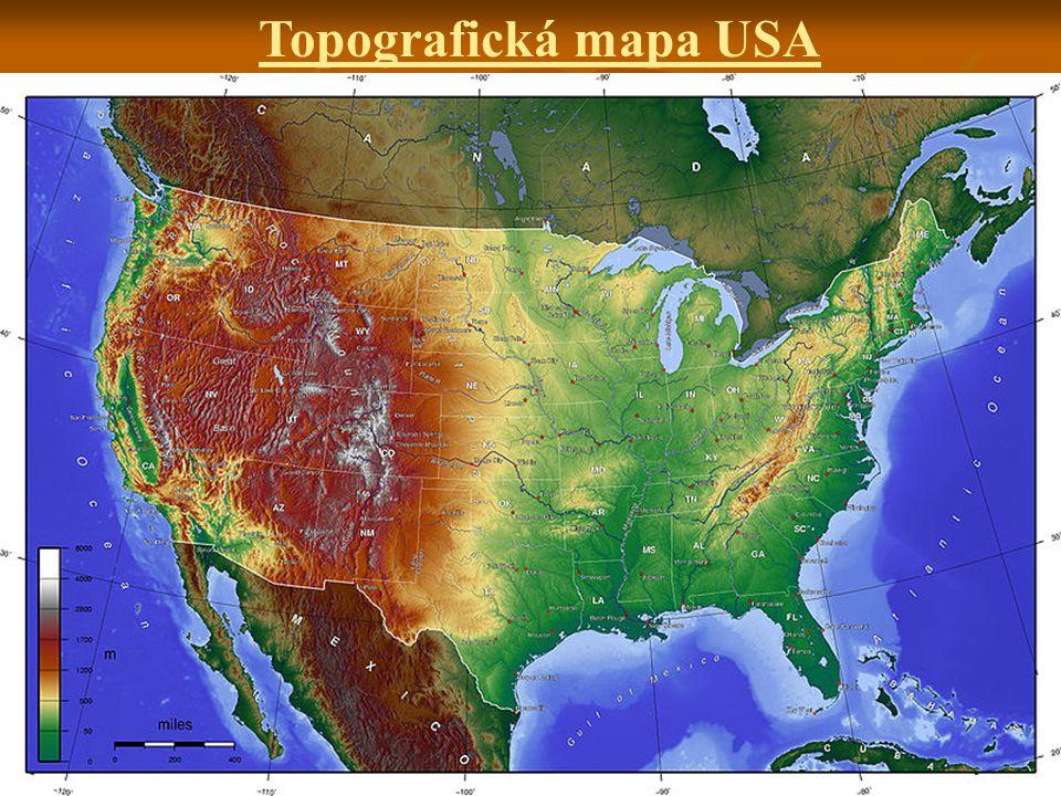 Topografická mapa USA