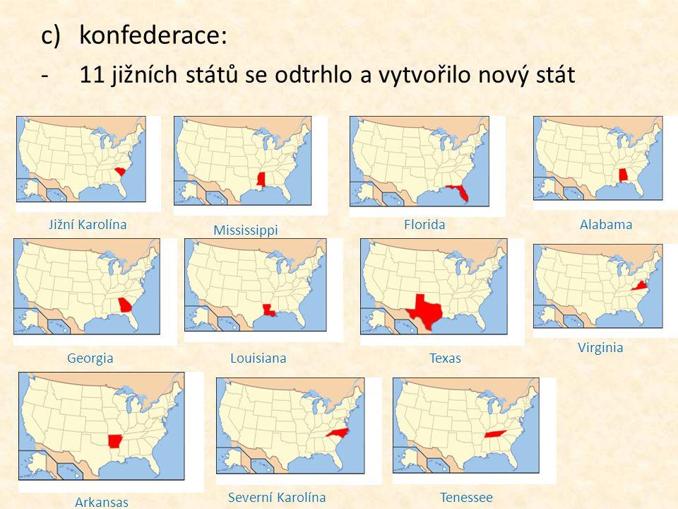 konfederace: 11 jižních států se odtrhlo a vytvořilo nový stát