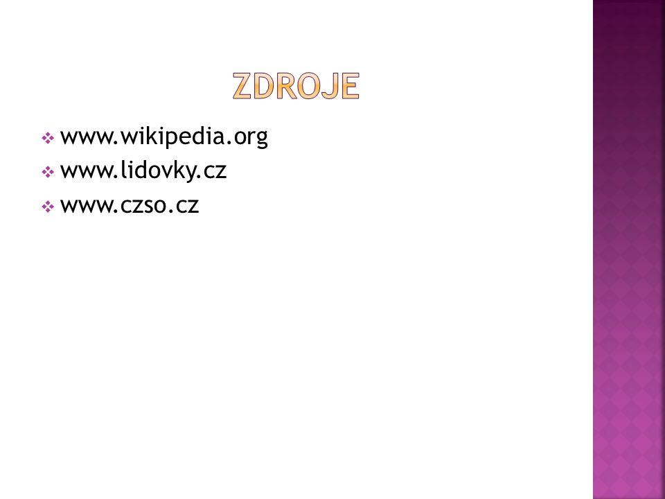 zdroje www.wikipedia.org www.lidovky.cz www.czso.cz