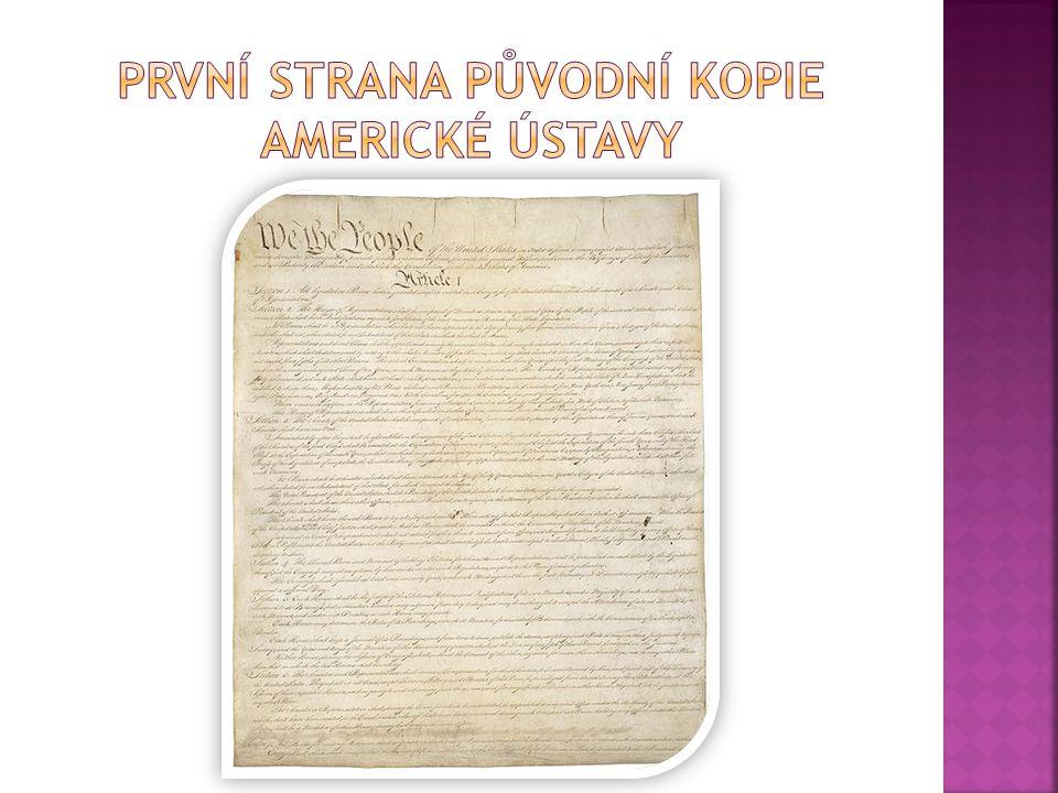První strana původní kopie americké ústavy