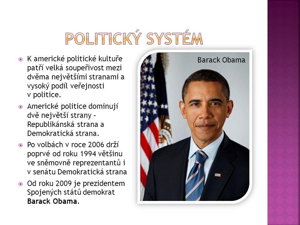 POLITICKÝ SYSTÉM K americké politické kultuře patří velká soupeřivost mezi dvěma největšími stranami a vysoký podíl veřejnosti v politice.