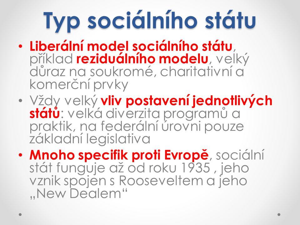 Typ sociálního státu Liberální model sociálního státu, příklad reziduálního modelu, velký důraz na soukromé, charitativní a komerční prvky.