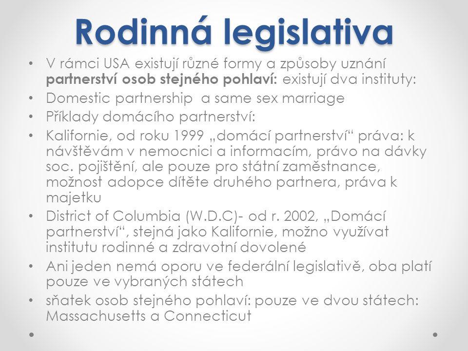 Rodinná legislativa V rámci USA existují různé formy a způsoby uznání partnerství osob stejného pohlaví: existují dva instituty: