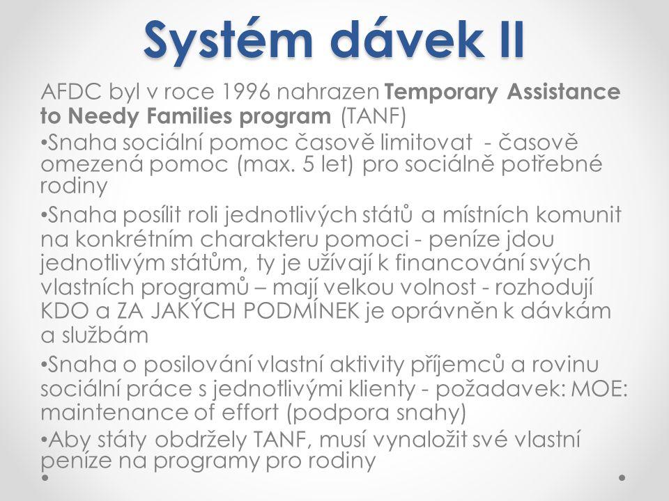 Systém dávek II AFDC byl v roce 1996 nahrazen Temporary Assistance to Needy Families program (TANF)