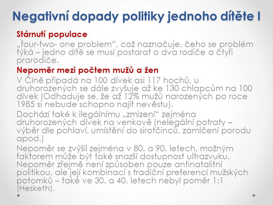 Negativní dopady politiky jednoho dítěte I