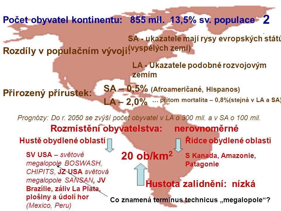 2. 20 ob/km2 Počet obyvatel kontinentu: 855 mil. 13,5% sv. populace