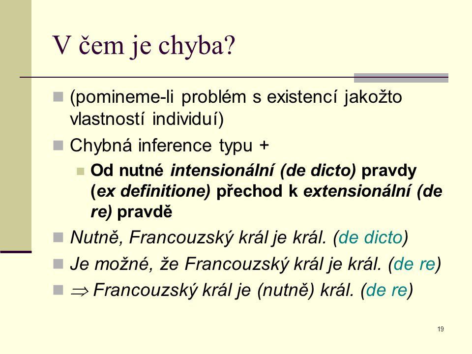 V čem je chyba (pomineme-li problém s existencí jakožto vlastností individuí) Chybná inference typu +