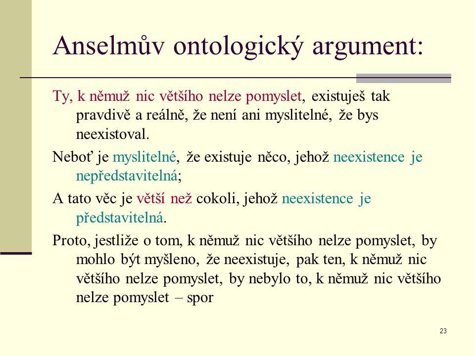 Anselmův ontologický argument: