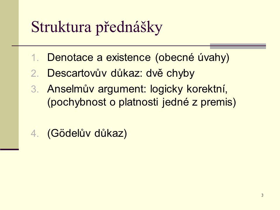 Struktura přednášky Denotace a existence (obecné úvahy)