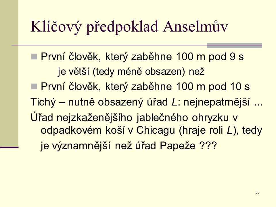 Klíčový předpoklad Anselmův
