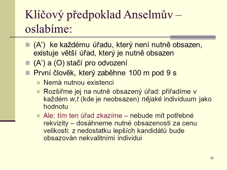 Klíčový předpoklad Anselmův – oslabíme: