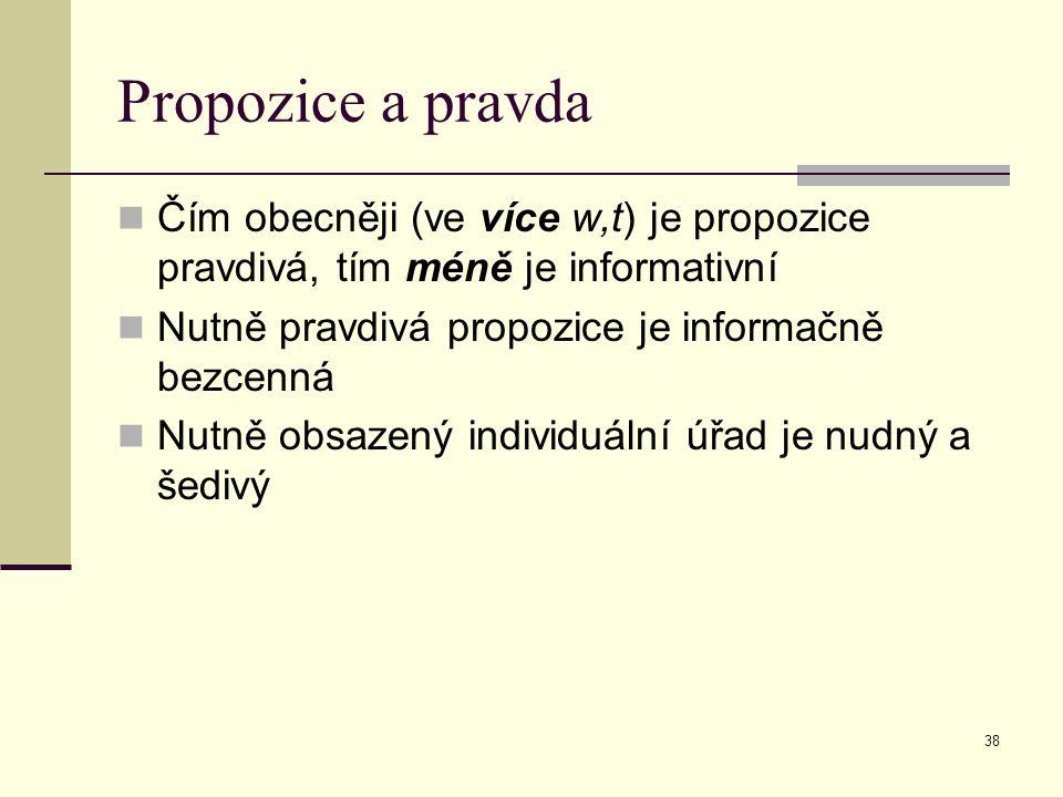 Propozice a pravda Čím obecněji (ve více w,t) je propozice pravdivá, tím méně je informativní. Nutně pravdivá propozice je informačně bezcenná.