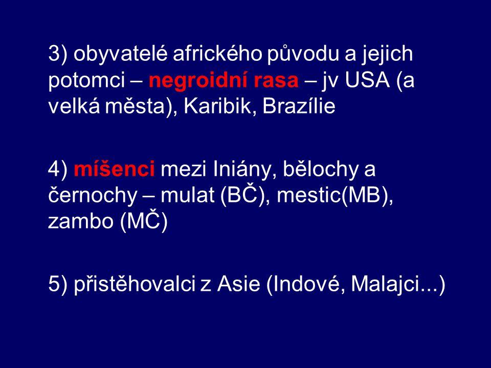 5) přistěhovalci z Asie (Indové, Malajci...)