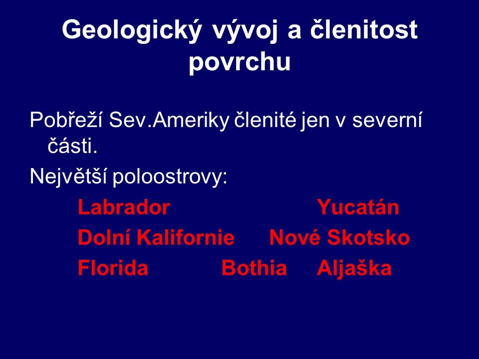 Geologický vývoj a členitost povrchu