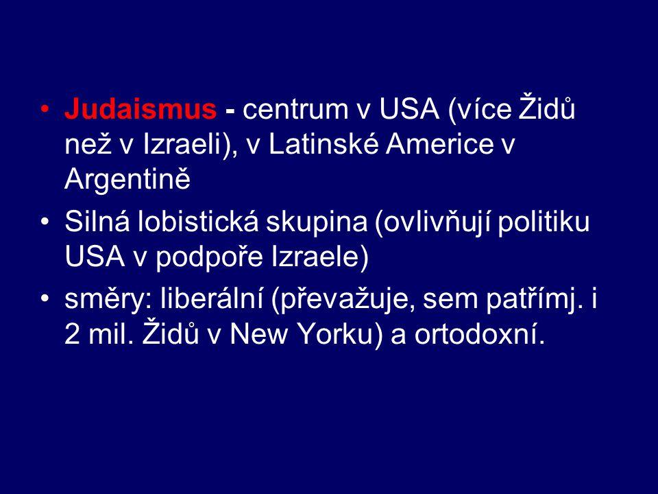 Judaismus - centrum v USA (více Židů než v Izraeli), v Latinské Americe v Argentině