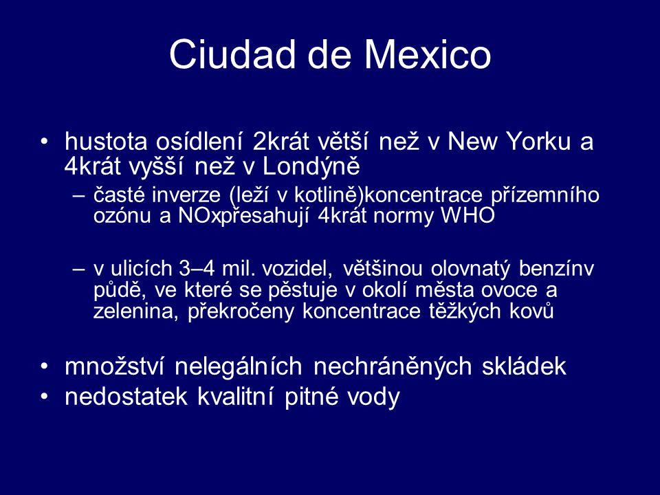 Ciudad de Mexico hustota osídlení 2krát větší než v New Yorku a 4krát vyšší než v Londýně.